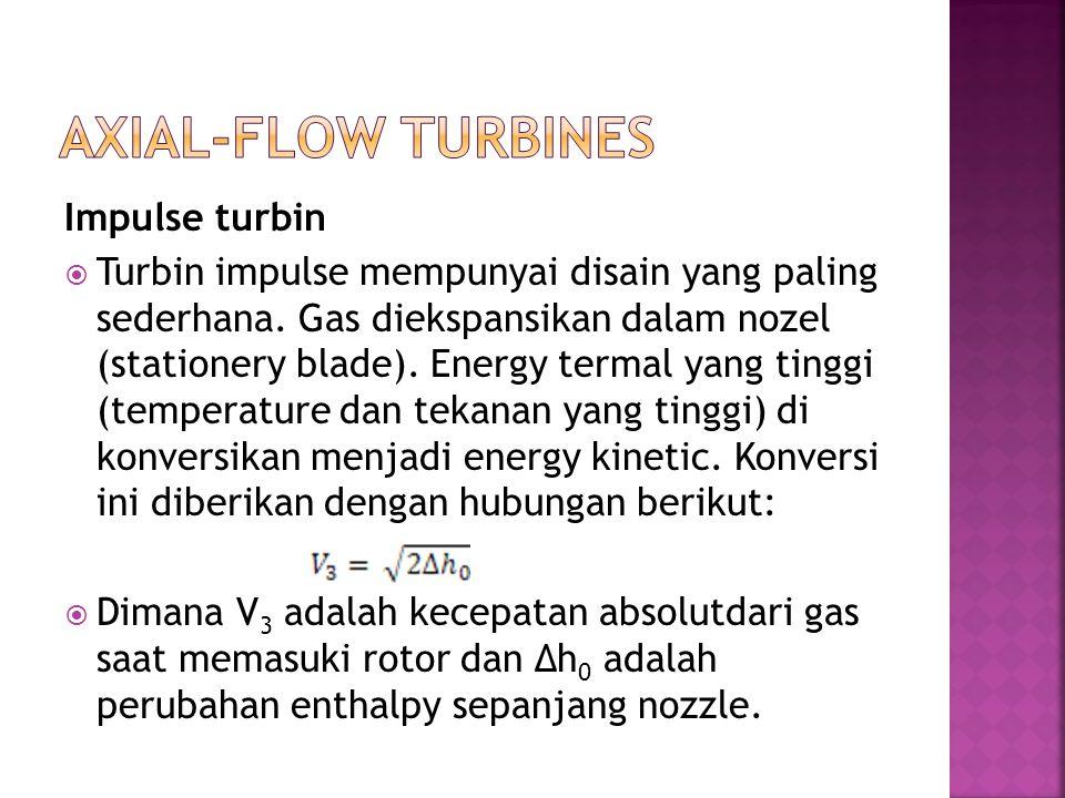 Impulse turbin  Turbin impulse mempunyai disain yang paling sederhana. Gas diekspansikan dalam nozel (stationery blade). Energy termal yang tinggi (t