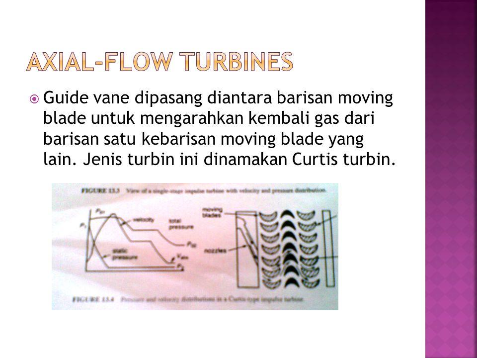  Guide vane dipasang diantara barisan moving blade untuk mengarahkan kembali gas dari barisan satu kebarisan moving blade yang lain. Jenis turbin ini