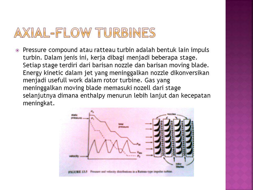  Pressure compound atau ratteau turbin adalah bentuk lain impuls turbin. Dalam jenis ini, kerja dibagi menjadi beberapa stage. Setiap stage terdiri d