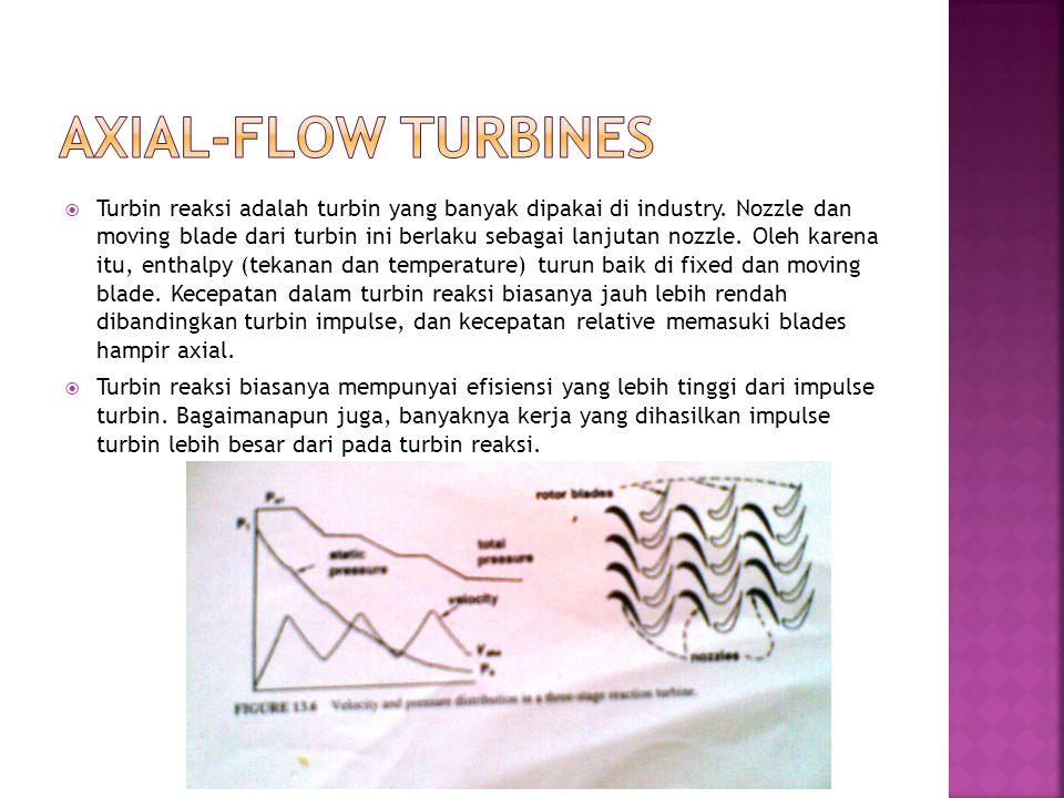  Turbin reaksi adalah turbin yang banyak dipakai di industry. Nozzle dan moving blade dari turbin ini berlaku sebagai lanjutan nozzle. Oleh karena it