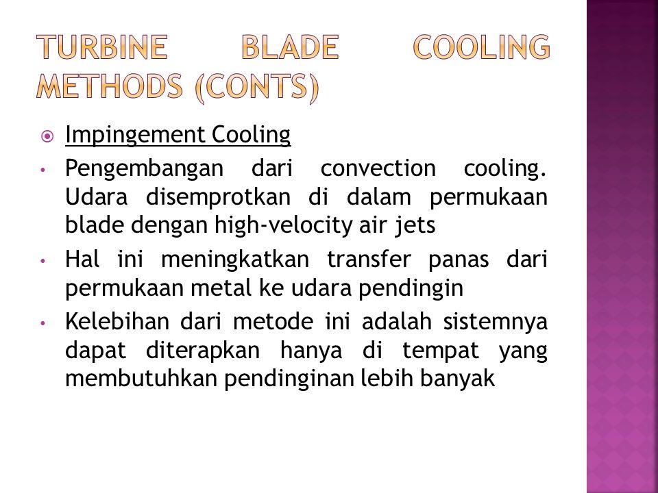  Impingement Cooling Pengembangan dari convection cooling. Udara disemprotkan di dalam permukaan blade dengan high-velocity air jets Hal ini meningka