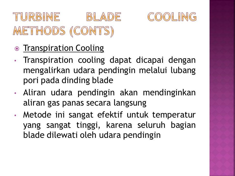  Transpiration Cooling Transpiration cooling dapat dicapai dengan mengalirkan udara pendingin melalui lubang pori pada dinding blade Aliran udara pen