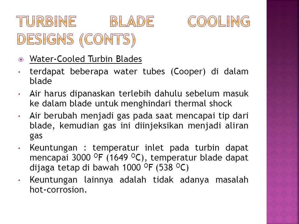  Water-Cooled Turbin Blades terdapat beberapa water tubes (Cooper) di dalam blade Air harus dipanaskan terlebih dahulu sebelum masuk ke dalam blade u