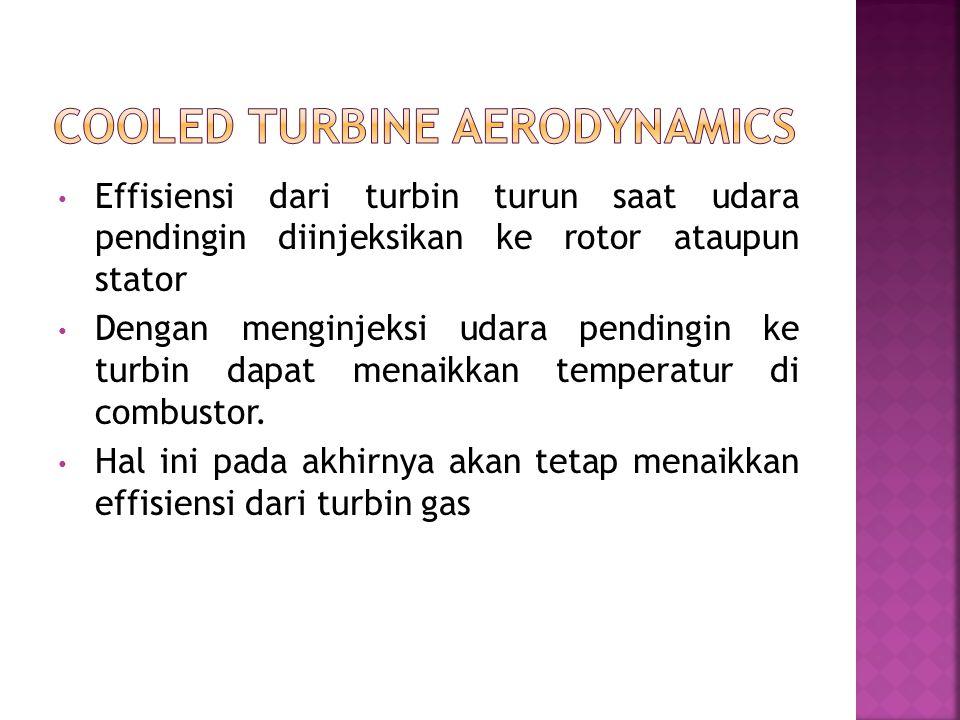 Effisiensi dari turbin turun saat udara pendingin diinjeksikan ke rotor ataupun stator Dengan menginjeksi udara pendingin ke turbin dapat menaikkan te