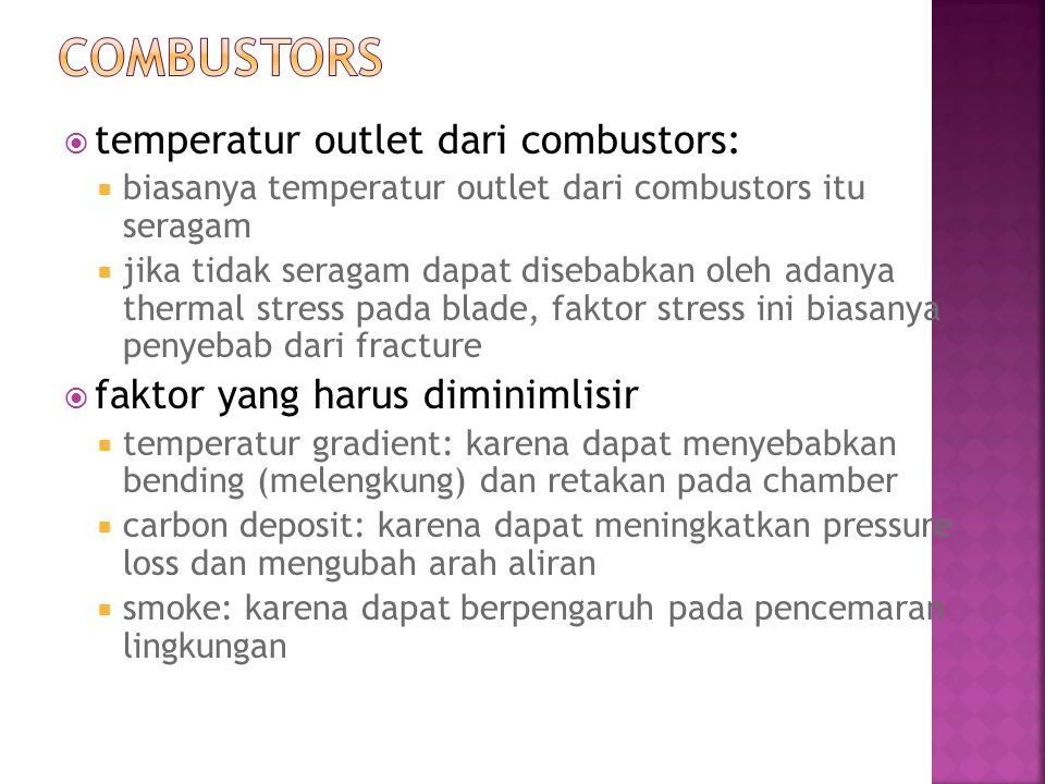  temperatur outlet dari combustors:  biasanya temperatur outlet dari combustors itu seragam  jika tidak seragam dapat disebabkan oleh adanya therma