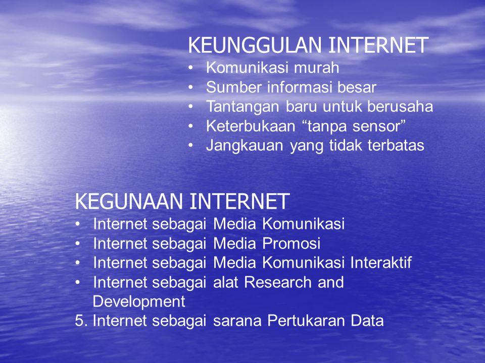 KEUNGGULAN INTERNET Komunikasi murah Sumber informasi besar Tantangan baru untuk berusaha Keterbukaan tanpa sensor Jangkauan yang tidak terbatas KEGUNAAN INTERNET Internet sebagai Media Komunikasi Internet sebagai Media Promosi Internet sebagai Media Komunikasi Interaktif Internet sebagai alat Research and Development 5.