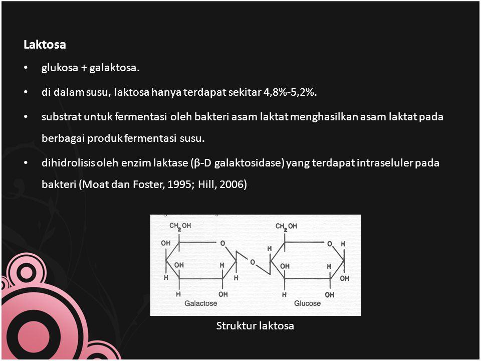 Laktosa glukosa + galaktosa.di dalam susu, laktosa hanya terdapat sekitar 4,8%-5,2%.
