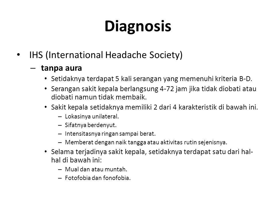 Diagnosis IHS (International Headache Society) – tanpa aura Setidaknya terdapat 5 kali serangan yang memenuhi kriteria B-D. Serangan sakit kepala berl