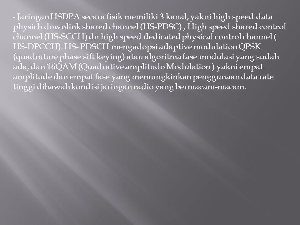 Jaringan HSDPA secara fisik memiliki 3 kanal, yakni high speed data physich downlink shared channel (HS-PDSC), High speed shared control channel (HS-S