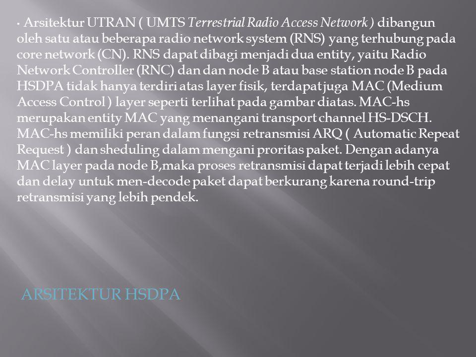 Arsitektur UTRAN ( UMTS Terrestrial Radio Access Network ) dibangun oleh satu atau beberapa radio network system (RNS) yang terhubung pada core networ