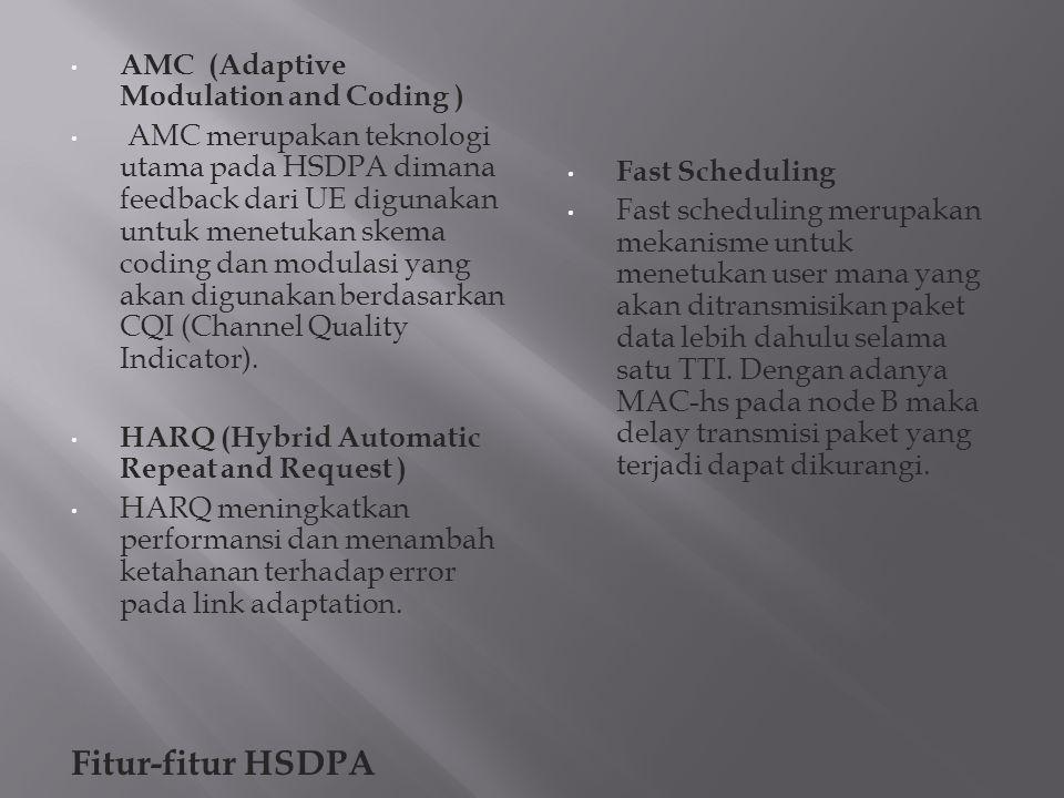 AMC (Adaptive Modulation and Coding ) AMC merupakan teknologi utama pada HSDPA dimana feedback dari UE digunakan untuk menetukan skema coding dan modu