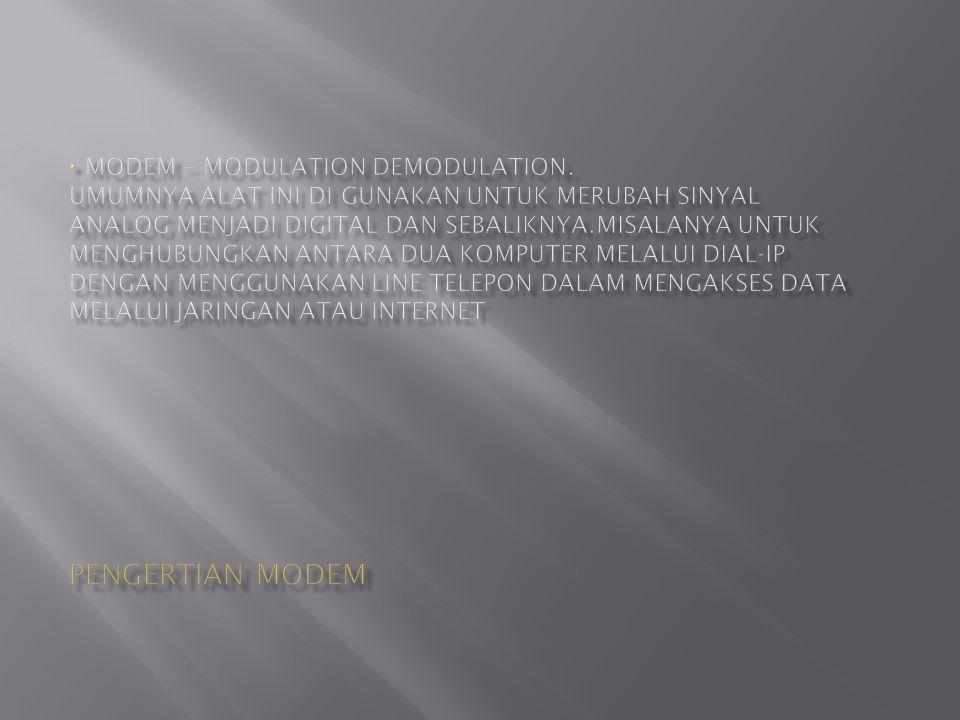 Modem– Modem berasal dari singkatan Mo dulator DEM odulator.
