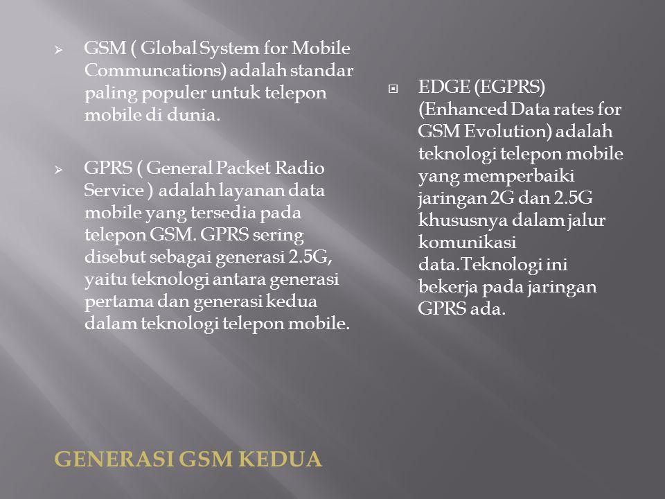  GSM ( Global System for Mobile Communcations) adalah standar paling populer untuk telepon mobile di dunia.  GPRS ( General Packet Radio Service ) a