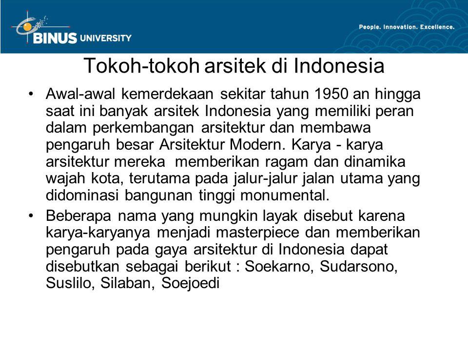 Tokoh-tokoh arsitek di Indonesia Awal-awal kemerdekaan sekitar tahun 1950 an hingga saat ini banyak arsitek Indonesia yang memiliki peran dalam perkembangan arsitektur dan membawa pengaruh besar Arsitektur Modern.