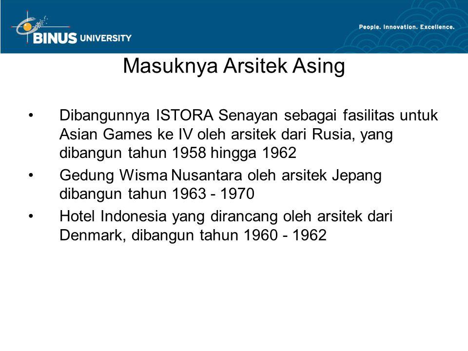 Masuknya Arsitek Asing Dibangunnya ISTORA Senayan sebagai fasilitas untuk Asian Games ke IV oleh arsitek dari Rusia, yang dibangun tahun 1958 hingga 1962 Gedung Wisma Nusantara oleh arsitek Jepang dibangun tahun 1963 - 1970 Hotel Indonesia yang dirancang oleh arsitek dari Denmark, dibangun tahun 1960 - 1962