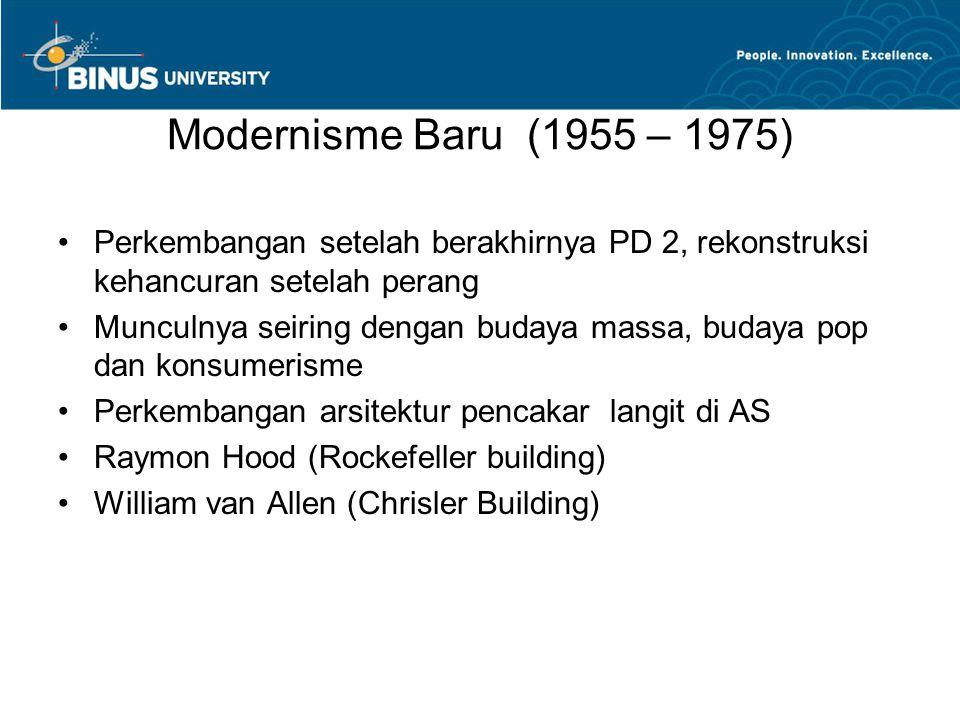 Modernisme Baru (1955 – 1975) Perkembangan setelah berakhirnya PD 2, rekonstruksi kehancuran setelah perang Munculnya seiring dengan budaya massa, budaya pop dan konsumerisme Perkembangan arsitektur pencakar langit di AS Raymon Hood (Rockefeller building) William van Allen (Chrisler Building)