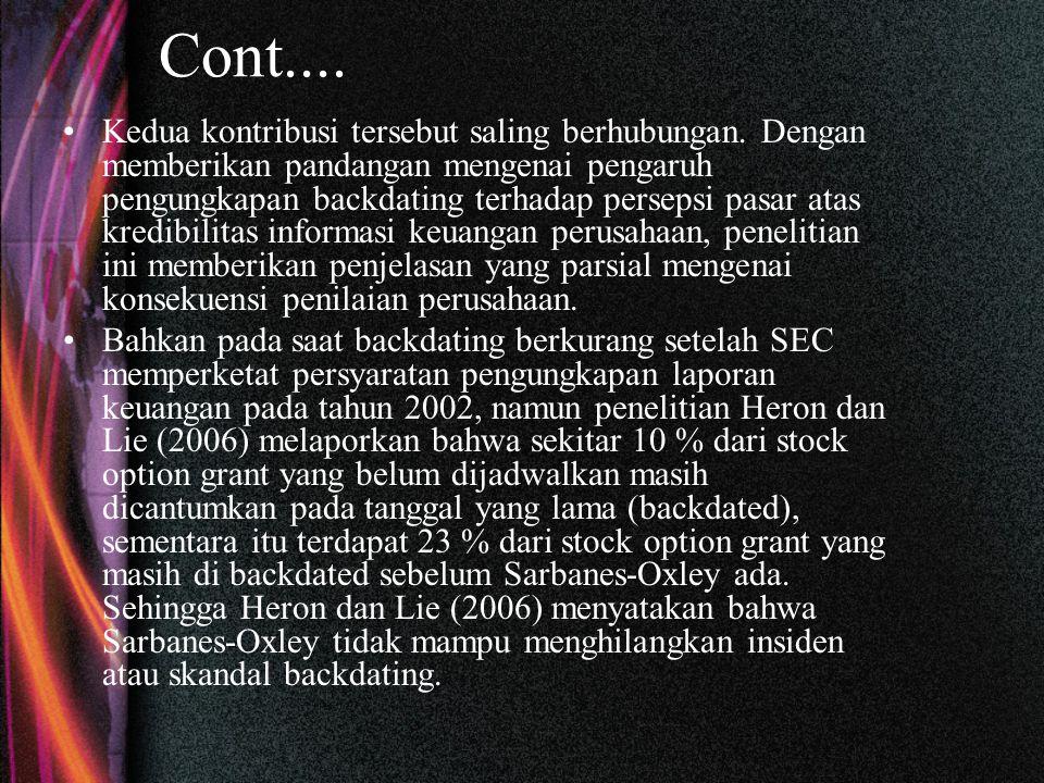 Cont.... Kedua kontribusi tersebut saling berhubungan.
