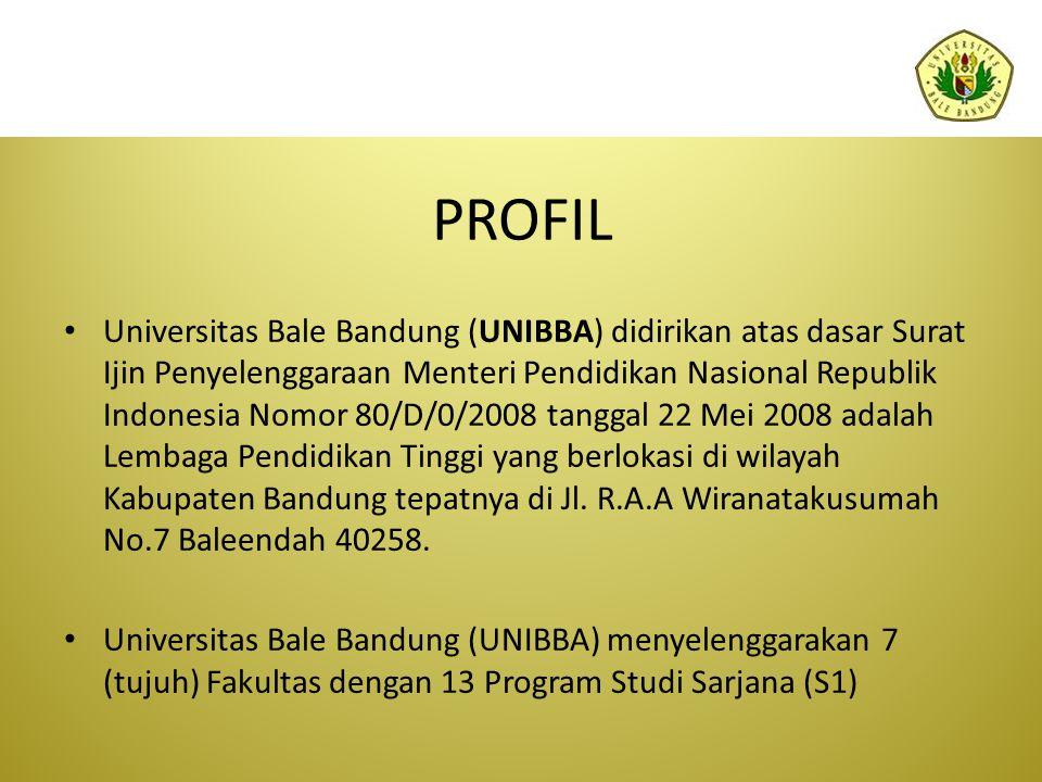 PROFIL Universitas Bale Bandung (UNIBBA) didirikan atas dasar Surat Ijin Penyelenggaraan Menteri Pendidikan Nasional Republik Indonesia Nomor 80/D/0/2