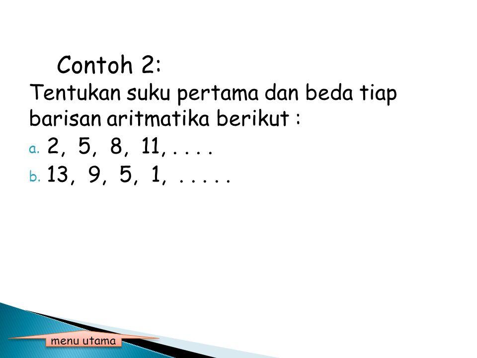 Penyelesaian contoh 1 : Tiga suku dari barisan bilangan berikut adalah : a.4, 7, 10, 13,... b = 7 – 4 = 3 13 + 3 = 16, 16 + 3 = 19, 19 + 3 = 22 Jadi t