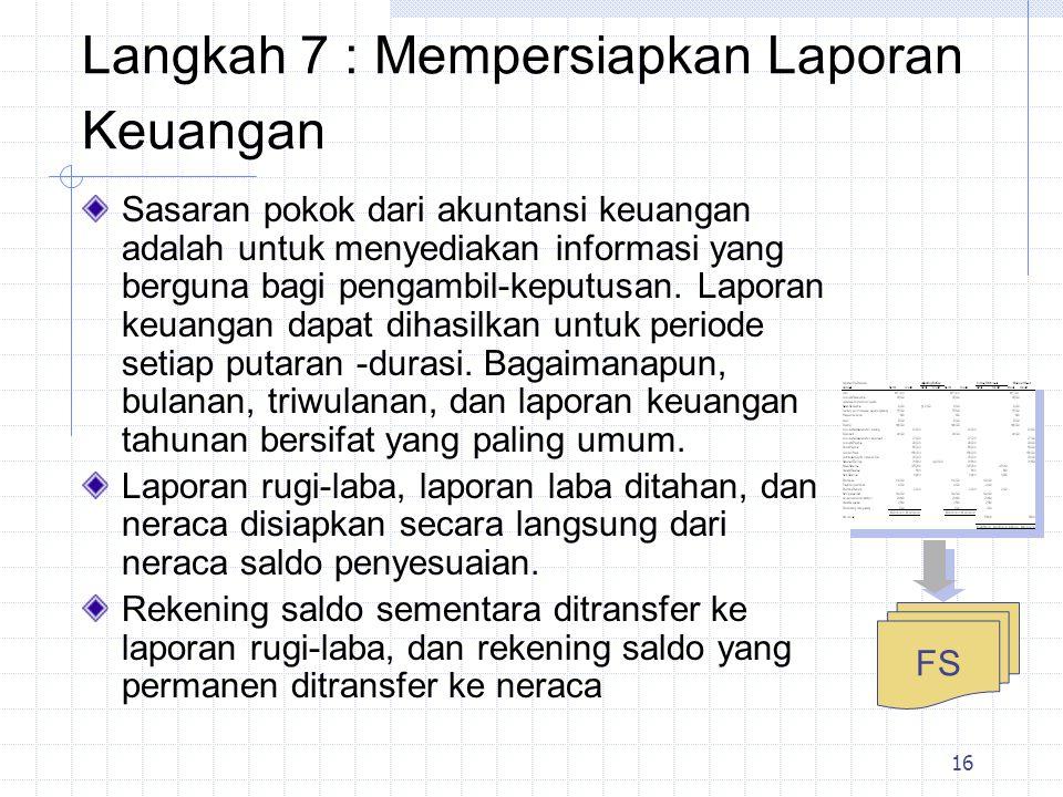 17 Langkah 8 Mencatat Dalam Buku Harian dan Penutupan Pembukuan Masukan Menutup masukan-masukan yang mengurangi rekening sementara (eg., pendapatan, biaya, dan dividen-dividen) ke suatu keseimbangan nihil (tertutup).