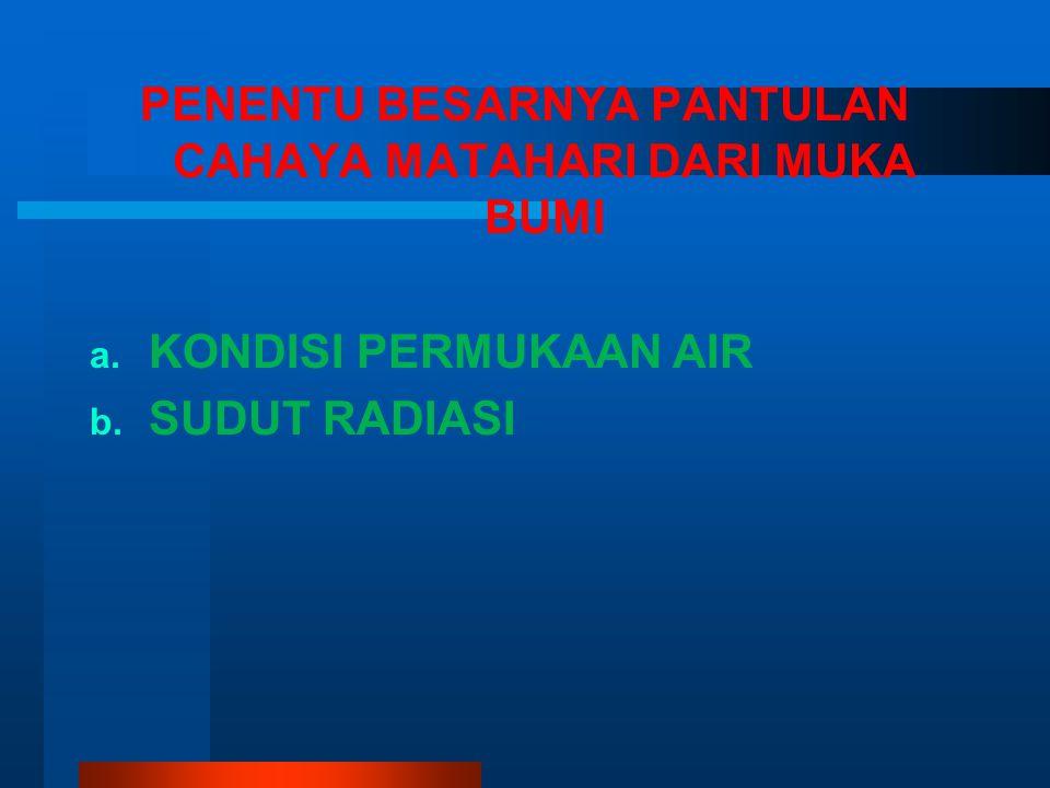 PENENTU BESARNYA PANTULAN CAHAYA MATAHARI DARI MUKA BUMI a. a. KONDISI PERMUKAAN AIR b. b. SUDUT RADIASI