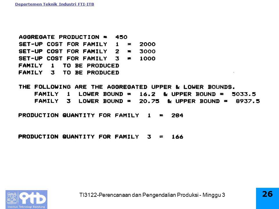 Departemen Teknik Industri FTI-ITB TI3122-Perencanaan dan Pengendalian Produksi - Minggu 3 25
