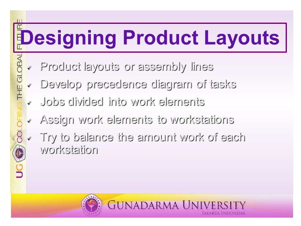 Designing Product Layouts Product layouts or assembly lines Product layouts or assembly lines Develop precedence diagram of tasks Develop precedence d