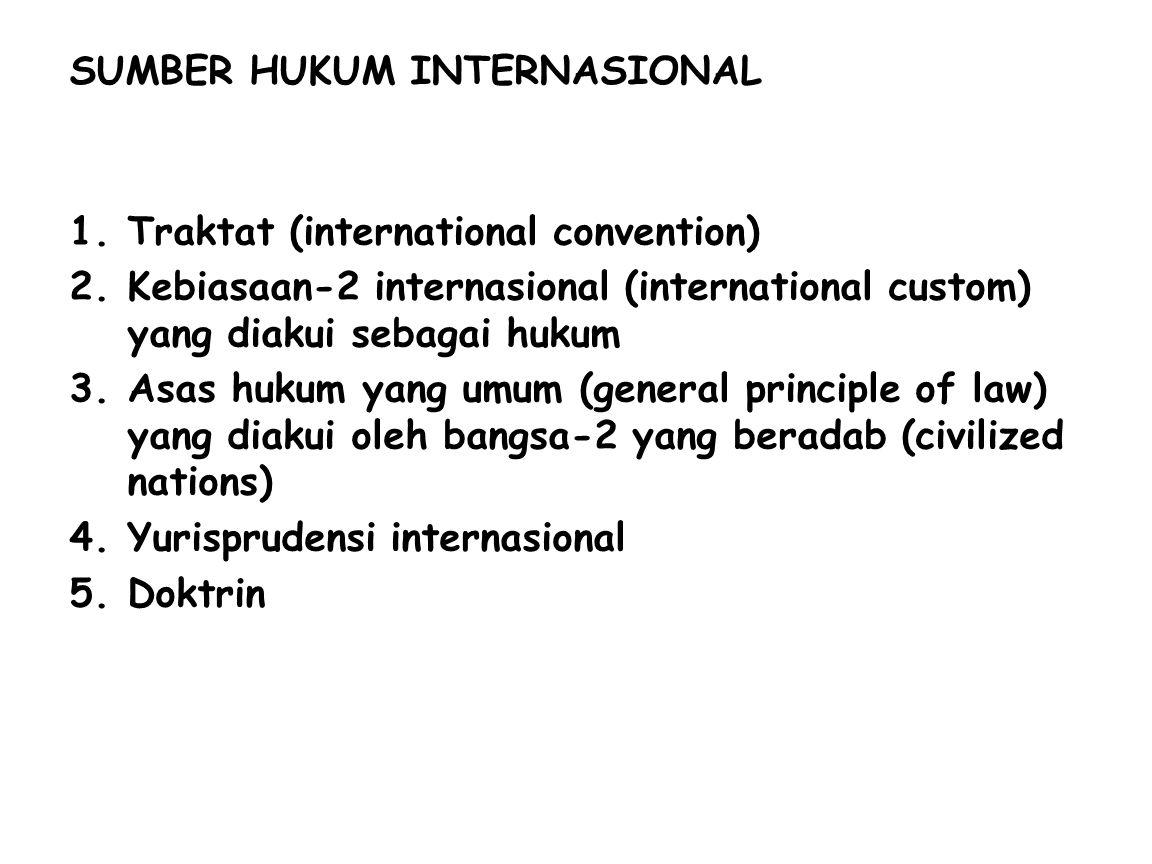 SUMBER HUKUM INTERNASIONAL 1.Traktat (international convention) 2.Kebiasaan-2 internasional (international custom) yang diakui sebagai hukum 3.Asas hukum yang umum (general principle of law) yang diakui oleh bangsa-2 yang beradab (civilized nations) 4.Yurisprudensi internasional 5.Doktrin
