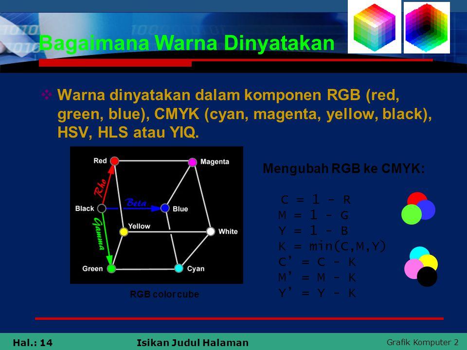 Grafik Komputer 2 Hal.: 14Isikan Judul Halaman Bagaimana Warna Dinyatakan  Warna dinyatakan dalam komponen RGB (red, green, blue), CMYK (cyan, magent
