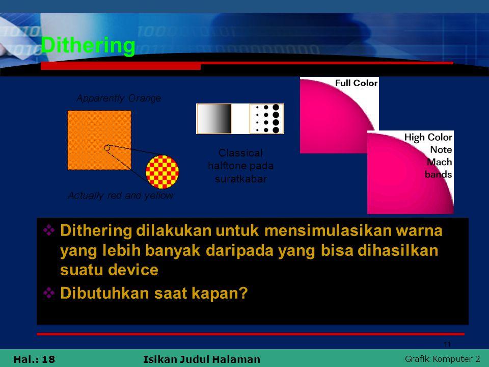 Grafik Komputer 2 Hal.: 18Isikan Judul Halaman Dithering  Dithering dilakukan untuk mensimulasikan warna yang lebih banyak daripada yang bisa dihasil