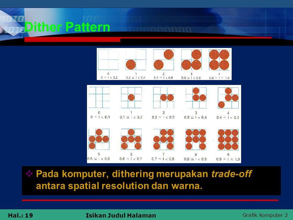 Grafik Komputer 2 Hal.: 19Isikan Judul Halaman Dither Pattern  Pada komputer, dithering merupakan trade-off antara spatial resolution dan warna.