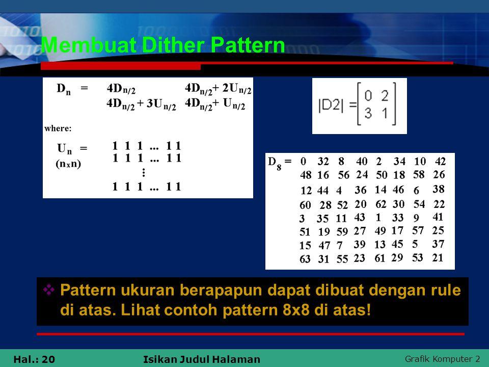 Grafik Komputer 2 Hal.: 20Isikan Judul Halaman Membuat Dither Pattern  Pattern ukuran berapapun dapat dibuat dengan rule di atas. Lihat contoh patter