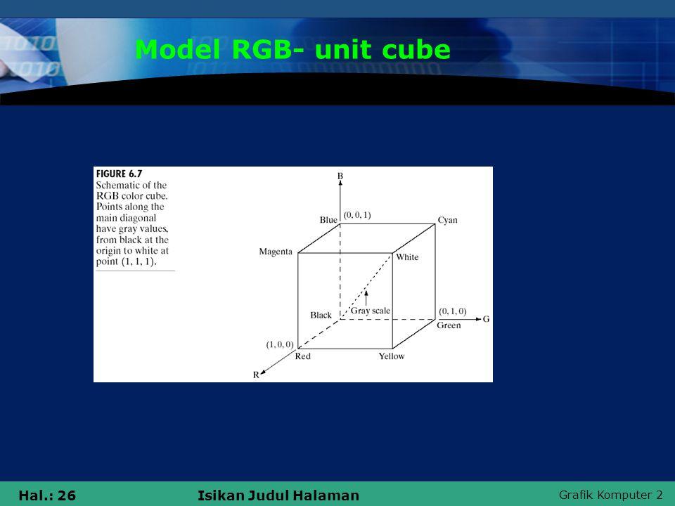 Grafik Komputer 2 Hal.: 26Isikan Judul Halaman Model RGB- unit cube