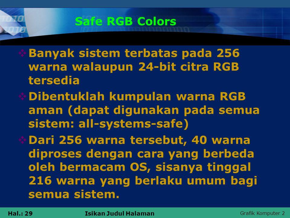 Grafik Komputer 2 Hal.: 29Isikan Judul Halaman Safe RGB Colors  Banyak sistem terbatas pada 256 warna walaupun 24-bit citra RGB tersedia  Dibentukla