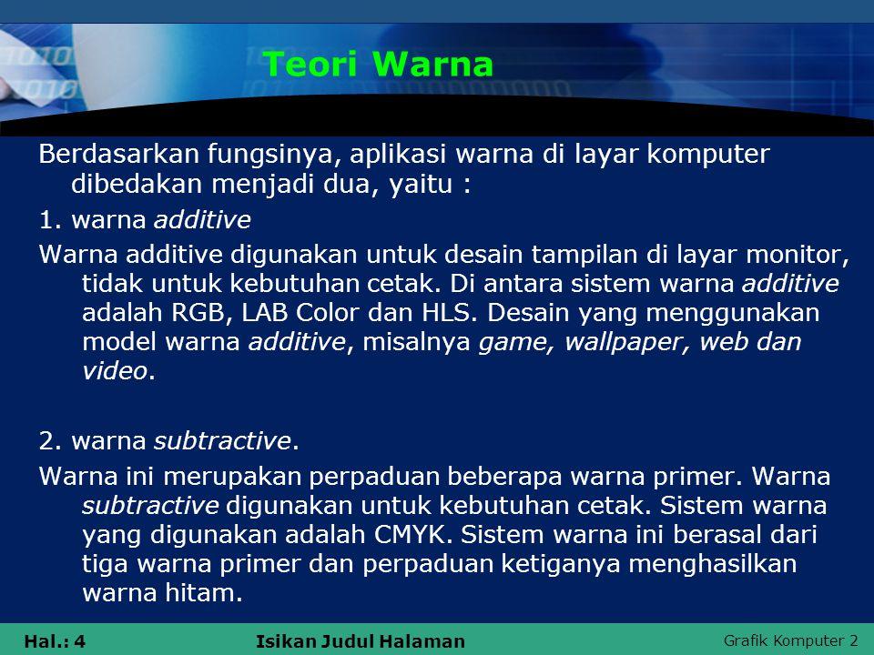 Grafik Komputer 2 Hal.: 4Isikan Judul Halaman Teori Warna Berdasarkan fungsinya, aplikasi warna di layar komputer dibedakan menjadi dua, yaitu : 1. wa