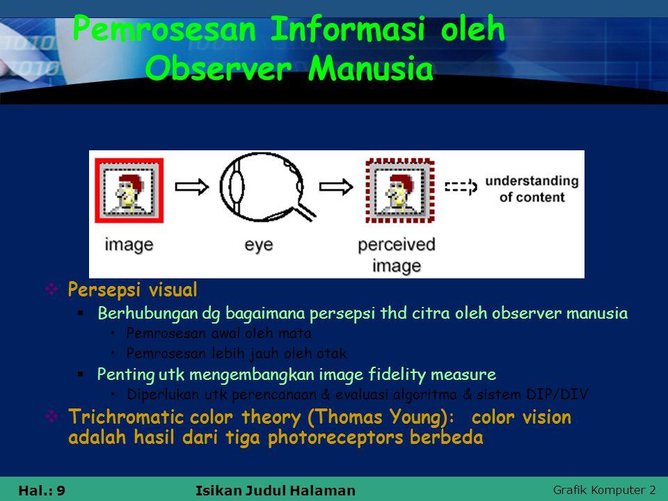 Grafik Komputer 2 Hal.: 9Isikan Judul Halaman Pemrosesan Informasi oleh Observer Manusia  Persepsi visual  Berhubungan dg bagaimana persepsi thd cit