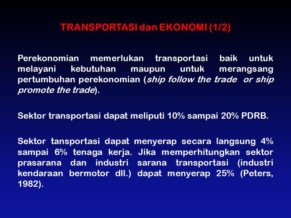 TRANSPORTASI dan EKONOMI (1/2) Perekonomian memerlukan transportasi baik untuk melayani kebutuhan maupun untuk merangsang pertumbuhan perekonomian (sh