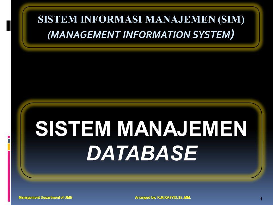SISTEM INFORMASI MANAJEMEN (SIM) (MANAGEMENT INFORMATION SYSTEM ) 2 Hirarki Data Management Department of UMBArranged by: R.M.RASYID,SE.,MM.