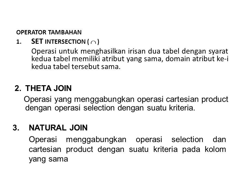 e.Set diference ( - ) Operasi untuk mendapatkan tabel dis uatu relasi tapi tidak ada di relasi lainnya. R – S = { X I X E R dan X E S } Contoh : Tampi