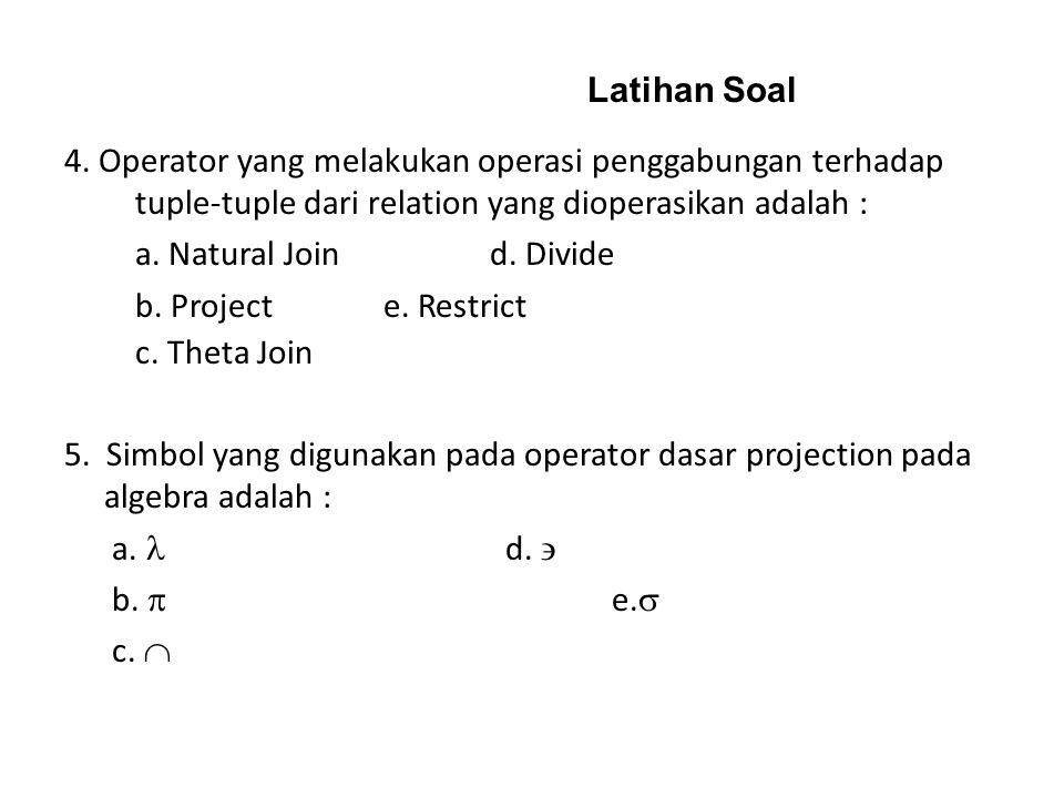 Latihan Soal 3. Operator yang digunakan untuk pemilihan attribute atau field adalah: a. Join c. Divide b. Project d. Union c. Divide 4. Operator yang