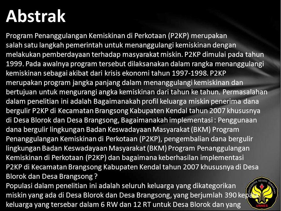 Abstrak Program Penanggulangan Kemiskinan di Perkotaan (P2KP) merupakan salah satu langkah pemerintah untuk menanggulangi kemiskinan dengan melakukan