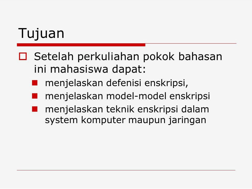 Tujuan  Setelah perkuliahan pokok bahasan ini mahasiswa dapat: menjelaskan defenisi enskripsi, menjelaskan model-model enskripsi menjelaskan teknik enskripsi dalam system komputer maupun jaringan