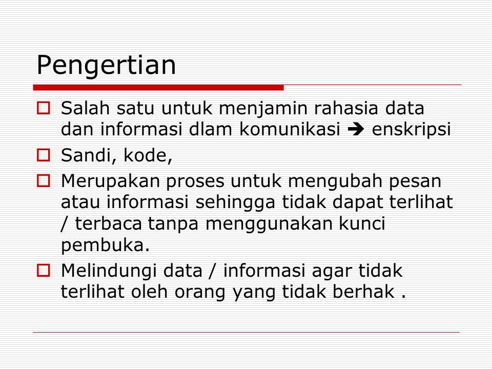 Pengertian  Salah satu untuk menjamin rahasia data dan informasi dlam komunikasi  enskripsi  Sandi, kode,  Merupakan proses untuk mengubah pesan atau informasi sehingga tidak dapat terlihat / terbaca tanpa menggunakan kunci pembuka.