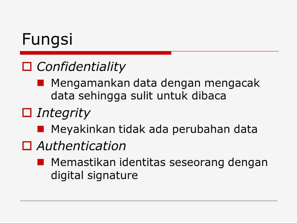 Fungsi  Confidentiality Mengamankan data dengan mengacak data sehingga sulit untuk dibaca  Integrity Meyakinkan tidak ada perubahan data  Authentication Memastikan identitas seseorang dengan digital signature