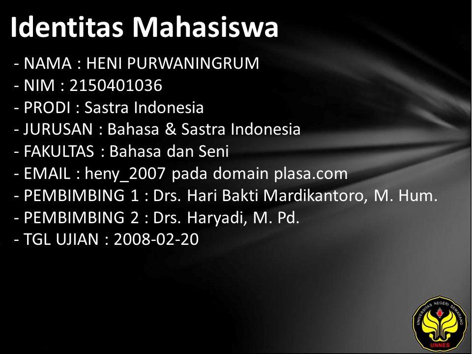 Identitas Mahasiswa - NAMA : HENI PURWANINGRUM - NIM : 2150401036 - PRODI : Sastra Indonesia - JURUSAN : Bahasa & Sastra Indonesia - FAKULTAS : Bahasa