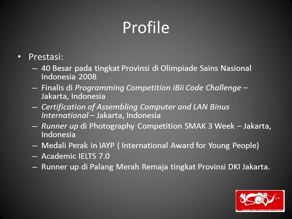 Profile Prestasi: – 40 Besar pada tingkat Provinsi di Olimpiade Sains Nasional Indonesia 2008 – Finalis di Programming Competition iBii Code Challenge
