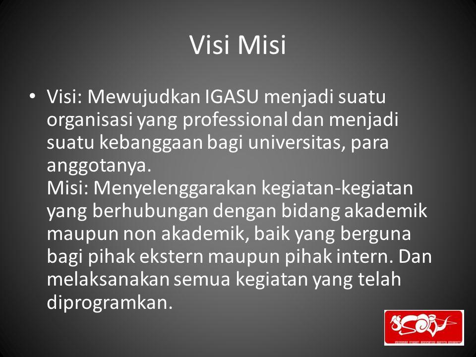 Visi Misi Visi: Mewujudkan IGASU menjadi suatu organisasi yang professional dan menjadi suatu kebanggaan bagi universitas, para anggotanya. Misi: Meny