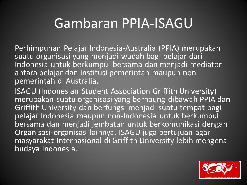 Gambaran PPIA-ISAGU Perhimpunan Pelajar Indonesia-Australia (PPIA) merupakan suatu organisasi yang menjadi wadah bagi pelajar dari Indonesia untuk ber