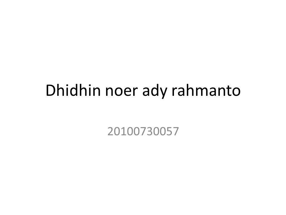 Dhidhin noer ady rahmanto 20100730057