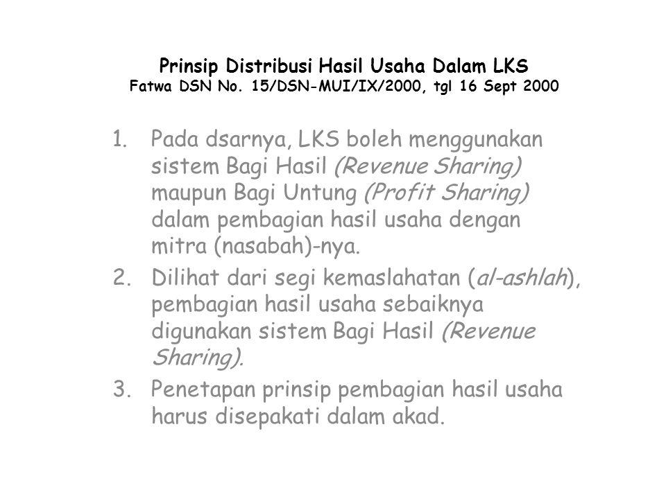 Prinsip Distribusi Hasil Usaha Dalam LKS Fatwa DSN No. 15/DSN-MUI/IX/2000, tgl 16 Sept 2000 1.Pada dsarnya, LKS boleh menggunakan sistem Bagi Hasil (R